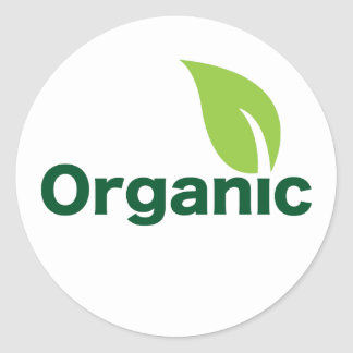 hoja orgánica pegatina redonda