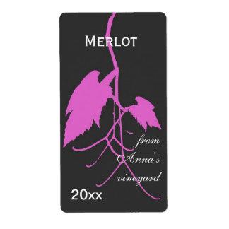 Hoja púrpura de la uva de vino con la impresión etiquetas de envío