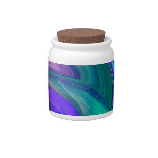 Hoja púrpura del trullo del arte abstracto N Tarro De Cerámica Para Dulces