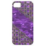 Hoja púrpura, enrejado de oro del brillo iPhone 5 Case-Mate carcasas