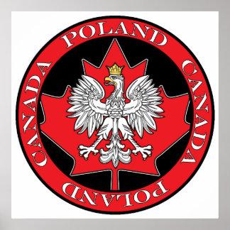 Hoja redonda de Polonia Canadá Póster