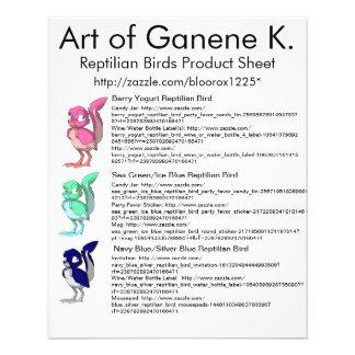 Hoja reptil 1 del producto de los pájaros tarjetas informativas