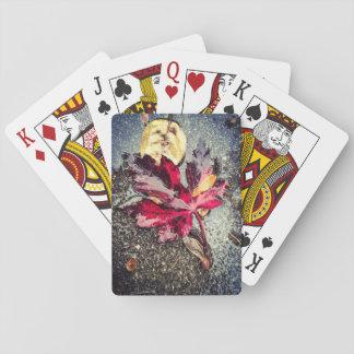 Hoja roja cartas de póquer