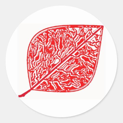 Hoja roja brillante etiquetas redondas