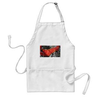 Hoja roja con el musgo español delantal