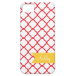 Hoja roja de Quatre con la cinta amarilla de encar iPhone 5 Case-Mate Coberturas