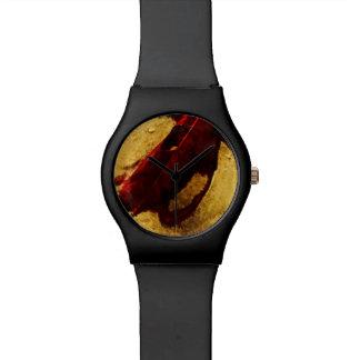 Hoja roja en impresionismo del extracto de la relojes de mano