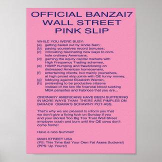 Hoja rosa del funcionario Banzai7 Wall Street Posters