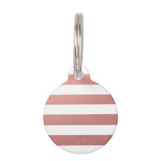 Hoja rosada coralina de las rayas blancas identificador para mascotas