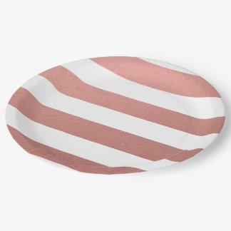 Hoja rosada coralina de las rayas blancas plato de papel de 9 pulgadas