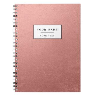 Hoja rosada coralina impresa cuaderno
