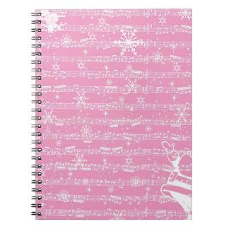 Hoja rosada del Musical del navidad del vintage Notebook