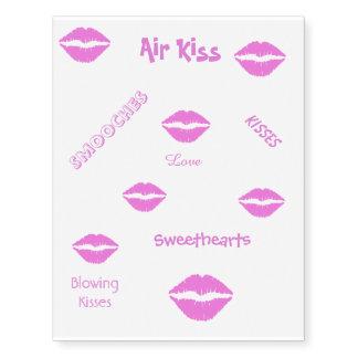 Hoja rosada del tatuaje del beso del lápiz labial tatuajes temporales
