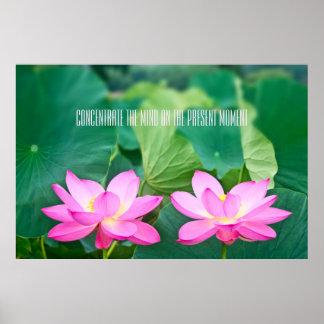 Hoja rosada del verde de la charca de los pares de póster