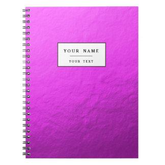 Hoja rosada impresa libreta espiral