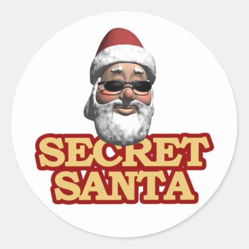 Hoja secreta de Santa de pegatinas Pegatina Redonda