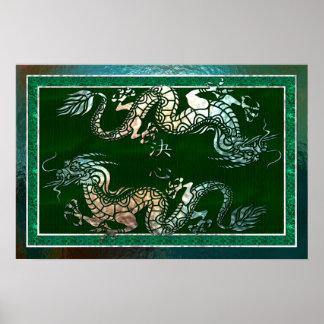 Hoja tribal de Digitaces del arte del dragón chino Poster