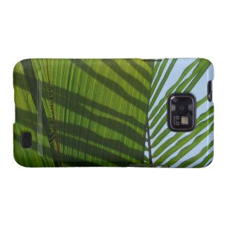 Hoja tropical del verde abstracto de la fotografía galaxy s2 carcasa