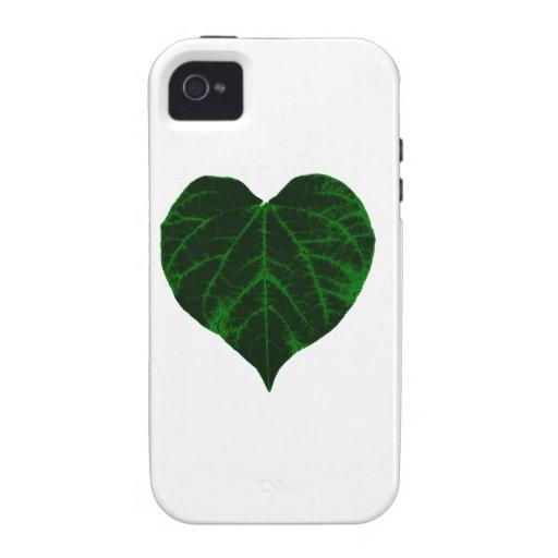 Hoja verde del corazón vibe iPhone 4 carcasas