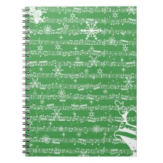 Hoja verde del Musical del navidad del vintage Libreta Espiral