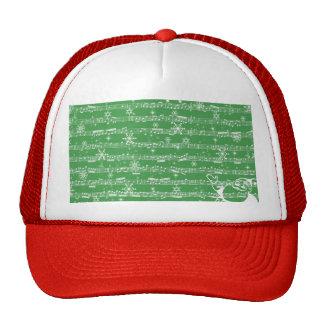 Hoja verde del Musical del navidad del vintage Gorra