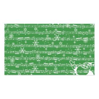 Hoja verde del Musical del navidad del vintage Tarjetas De Visita