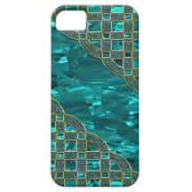 Hoja verde del trullo, enrejado de oro del brillo iPhone 5 Case-Mate protector