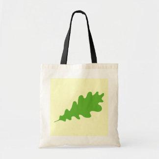 Hoja verde, diseño de la hoja del roble bolsas lienzo