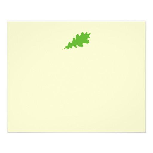 """Hoja verde, diseño de la hoja del roble folleto 4.5"""" x 5.6"""""""