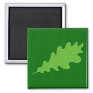 Hoja verde diseño de la hoja del roble iman para frigorífico