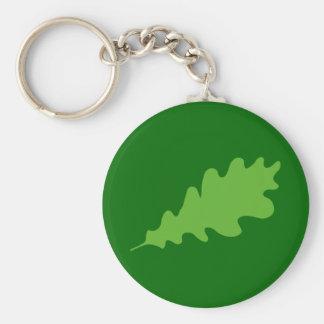 Hoja verde, diseño de la hoja del roble llavero redondo tipo pin