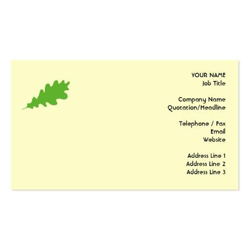 Hoja verde, diseño de la hoja del roble tarjetas de visita