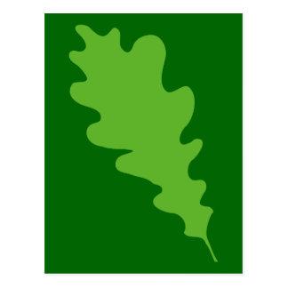 Hoja verde, diseño de la hoja del roble postal