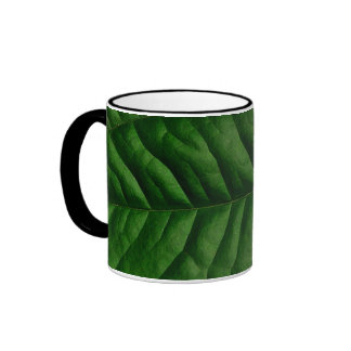 Hoja verde grande taza de dos colores