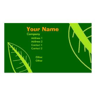 Hoja verde tarjetas de visita