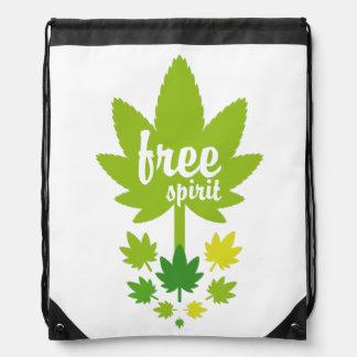 Hoja verde vectorial free spirit. Vector plant. Drawstring Backpack