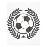 Hoja y estrella verdes olivas del fútbol del vinta membretes personalizados