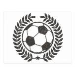 Hoja y estrella verdes olivas del fútbol del vinta postales