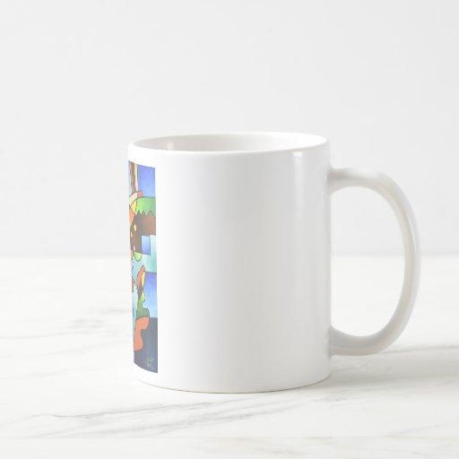 Hoja y florero taza de café