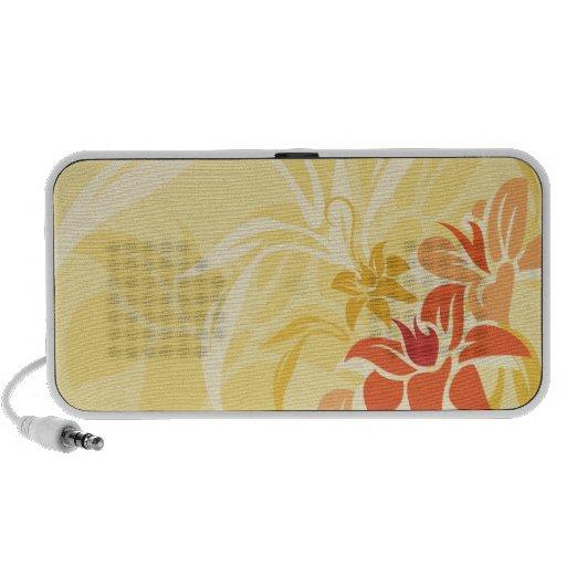 Hoja y flores modernas del lirio de la puesta del  iPod altavoz