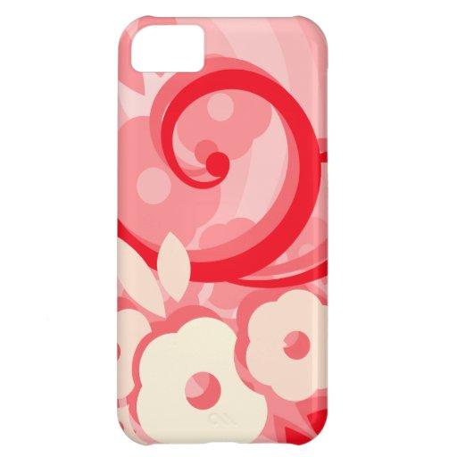 Hoja y flores rojas modernas funda para iPhone 5C