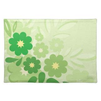 Hoja y flores verdes modernas manteles individuales
