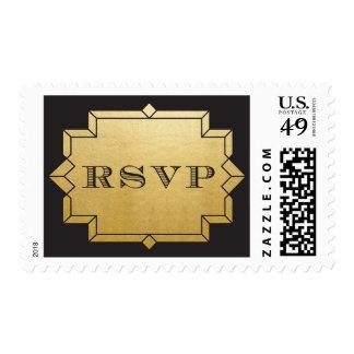 Hoja y negro de oro del sello del art déco de RSVP