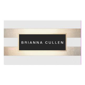 Hoja y negro de oro rayada de la moda moderna tarjetas de visita