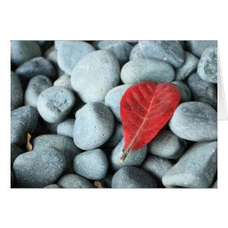 Hoja y piedras rojas felicitaciones