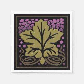 Hoja y uvas (50 servilletas de papel) de la uva de
