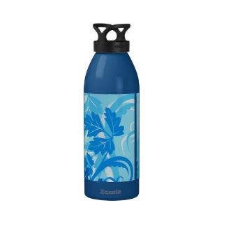 Hoja y vid modernas azules del mar botella de beber