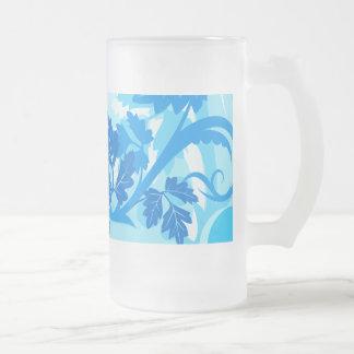 Hoja y vid modernas azules del mar tazas