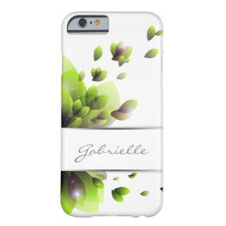 hojas abstractas del verde con la raya para el funda de iPhone 6 barely there