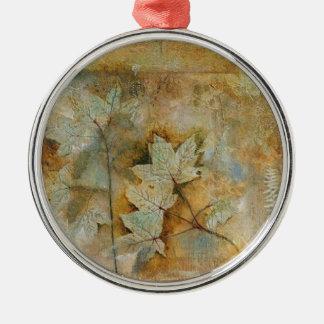 hojas adorno navideño redondo de metal